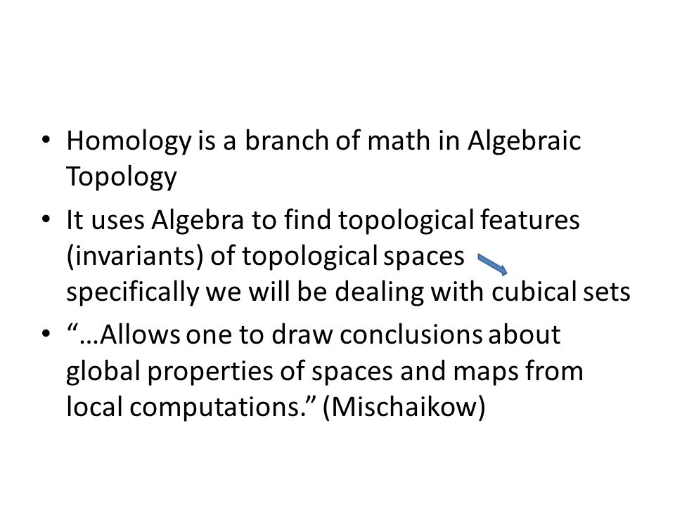 Homology is a branch of math in Algebraic Topology It uses Algebra to find topological features (invariants) of topological spaces specifically we wil