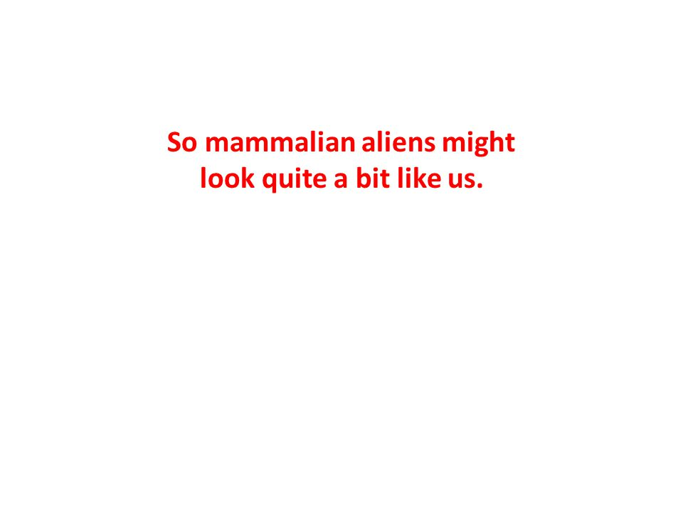So mammalian aliens might look quite a bit like us.