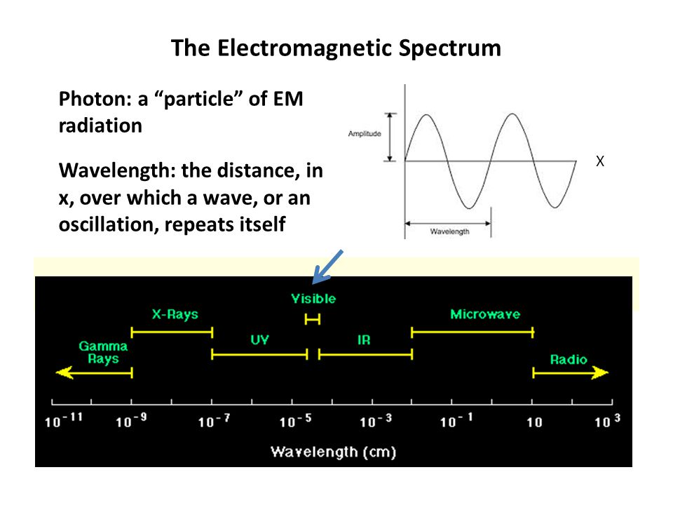 The Electromagnetic Spectrum The electromagnetic spectrum Photon: a particle of EM radiation Wavelength: the distance, in x, over which a wave, or an oscillation, repeats itself X