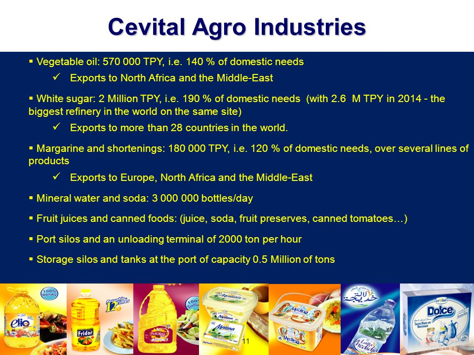 Cevital Agro Industries  Vegetable oil: 570 000 TPY, i.e. 140 % of domestic needs Exports to North Africa and the Middle-East  White sugar: 2 Millio