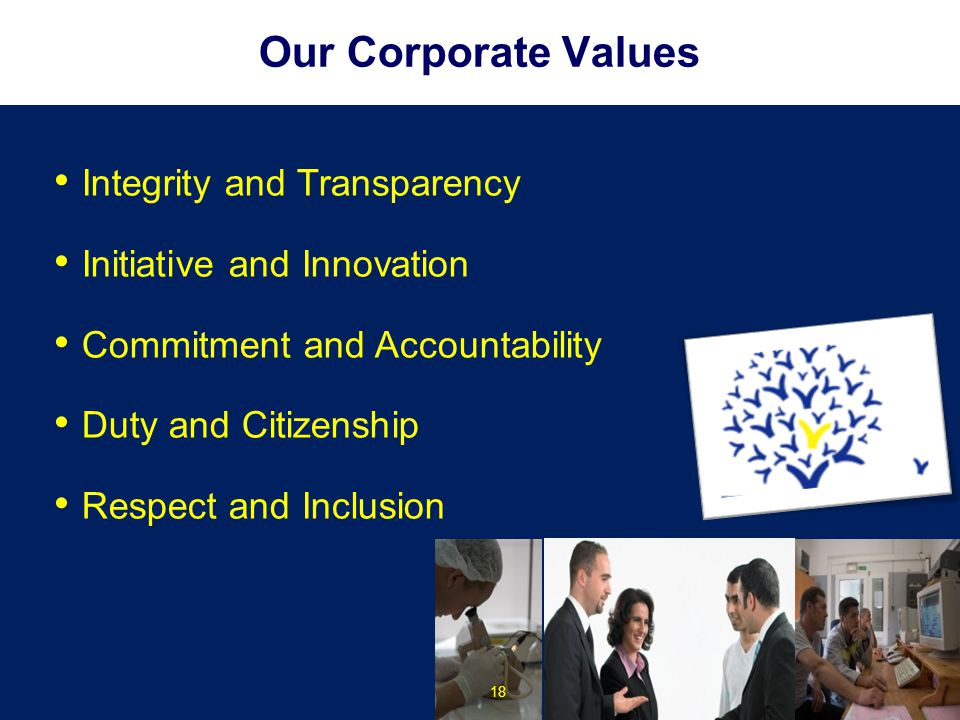 Our Corporate Values Integrity and Transparency Initiative and Innovation Commitment and Accountability Duty and Citizenship Respect and Inclusion 18