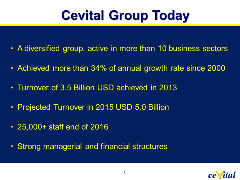 A diversified group, active in more than 10 business sectors Achieved more than 34% of annual growth rate since 2000 Turnover of 3.5 Billion USD achie
