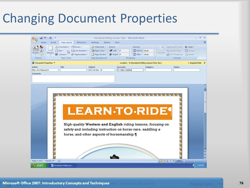 Changing Document Properties Microsoft Office 2007: Introductory Concepts and Techniques76