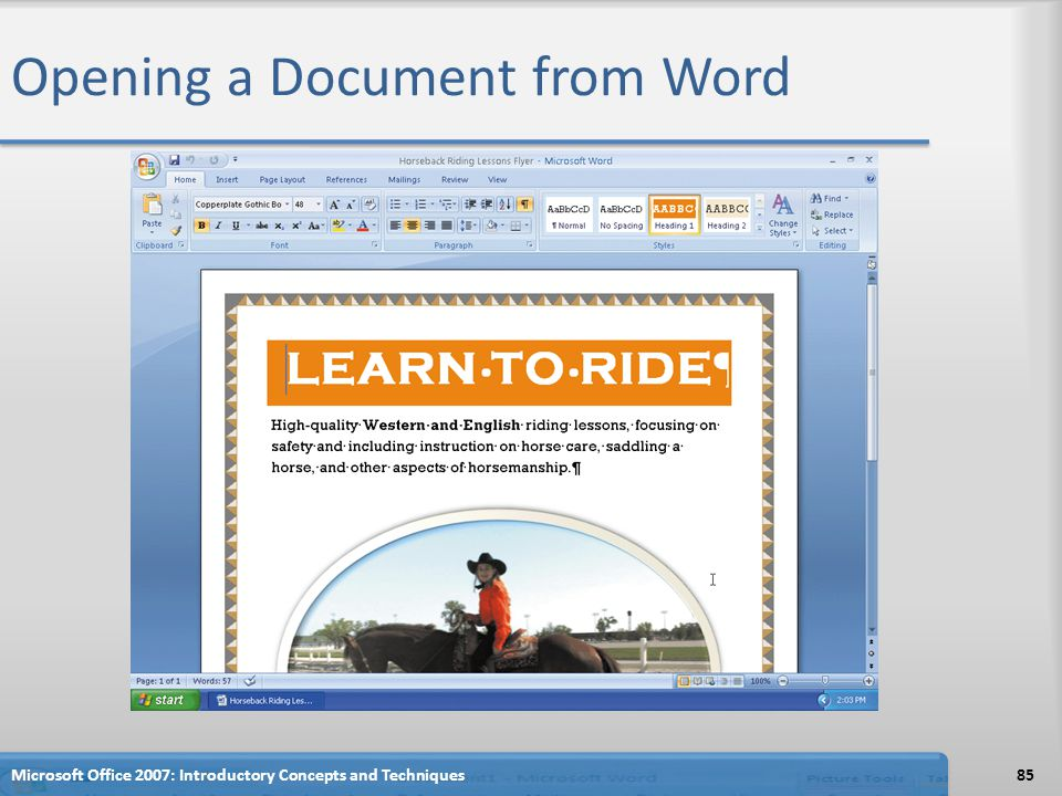 Opening a Document from Word Microsoft Office 2007: Introductory Concepts and Techniques85
