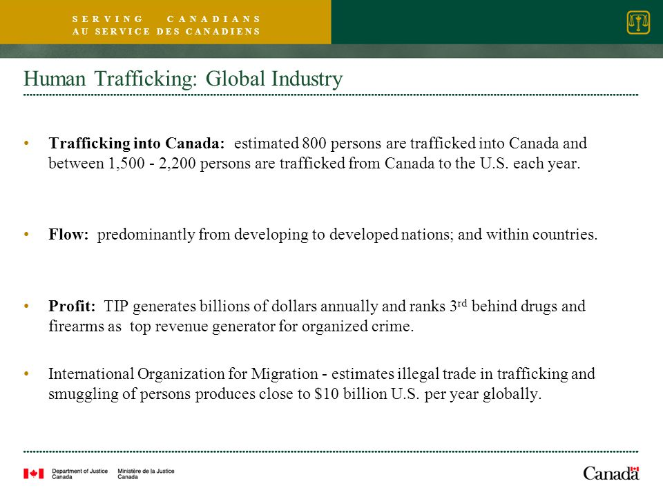 S E R V I N G C A N A D I A N S A U S E R V I C E D E S C A N A D I E N S Human Trafficking: Global Industry Trafficking into Canada: estimated 800 persons are trafficked into Canada and between 1,500 - 2,200 persons are trafficked from Canada to the U.S.