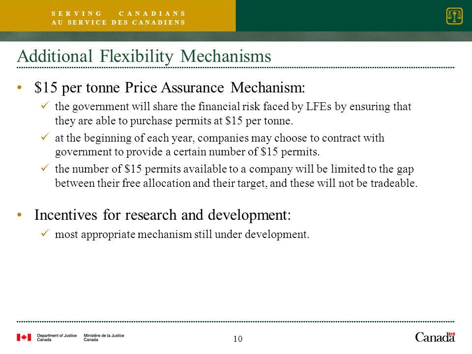 S E R V I N G C A N A D I A N S A U S E R V I C E D E S C A N A D I E N S Additional Flexibility Mechanisms $15 per tonne Price Assurance Mechanism: t