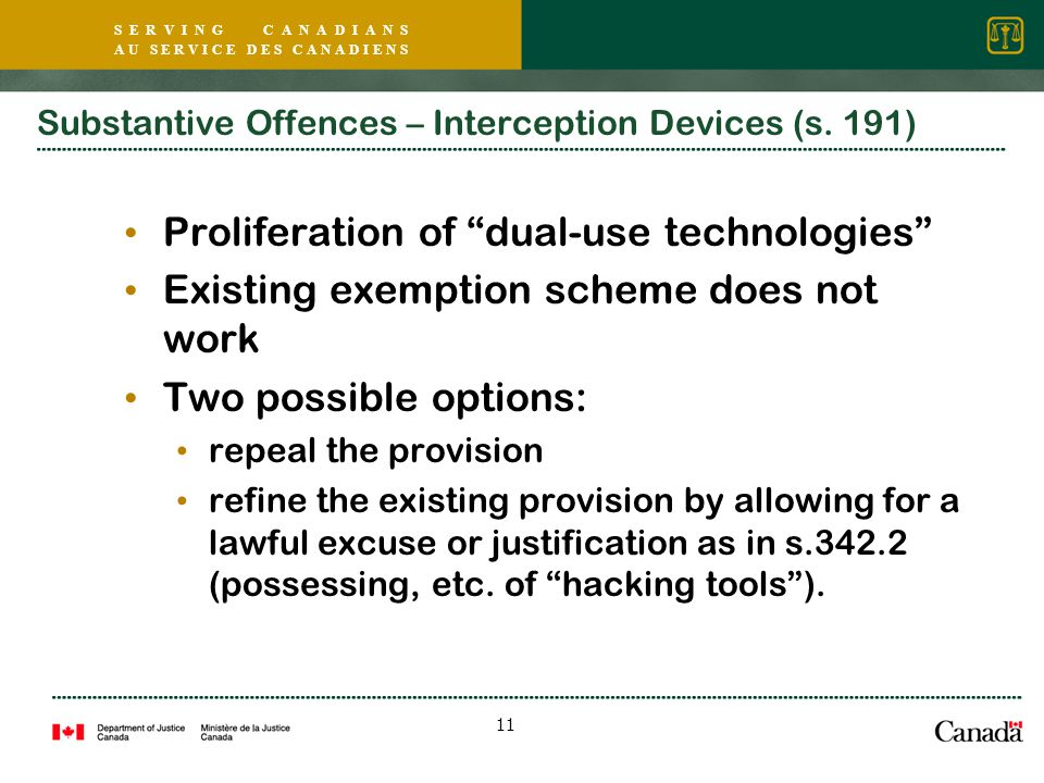 S E R V I N G C A N A D I A N S A U S E R V I C E D E S C A N A D I E N S 11 Substantive Offences – Interception Devices (s.