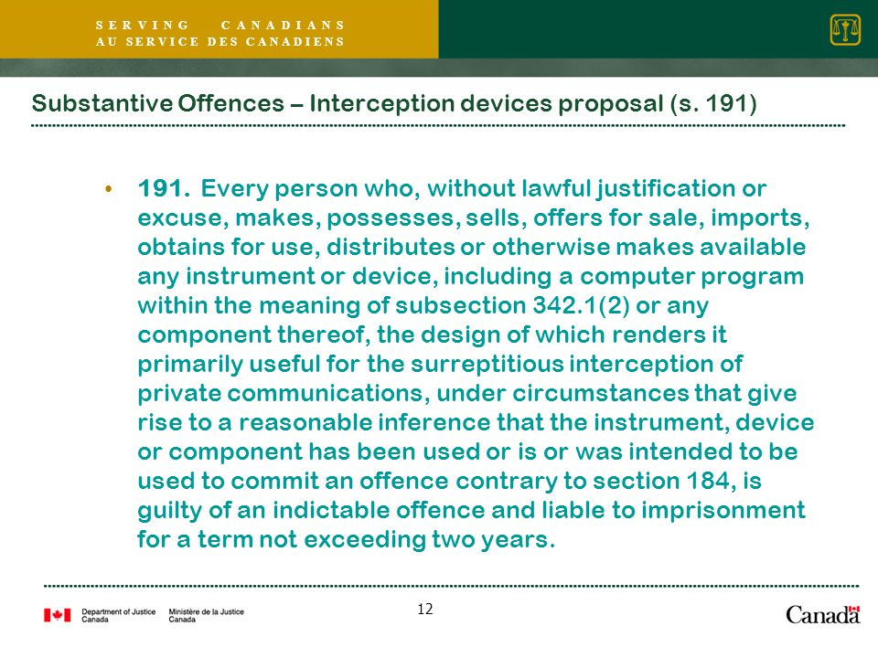S E R V I N G C A N A D I A N S A U S E R V I C E D E S C A N A D I E N S 12 Substantive Offences – Interception devices proposal (s.