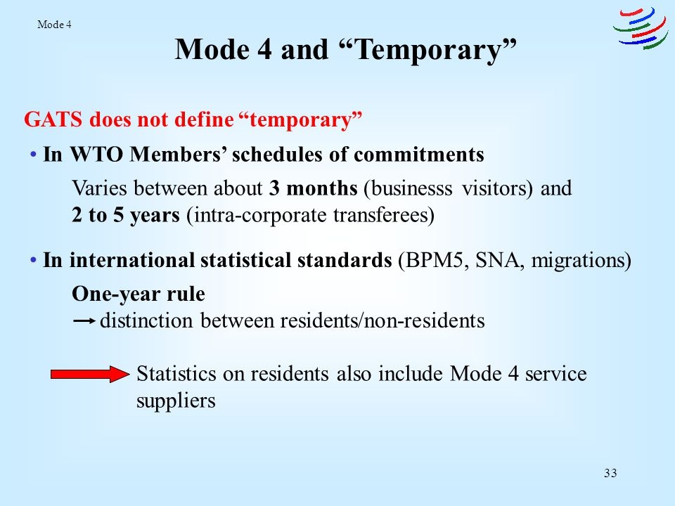 34 BOP and Mode 4 BOP ItemsRelevanceLimitations Services (especially computer & information, other business, personal cultural & recreational, and construction services) Service contracts with the importer Include other modes of supply Mode 4