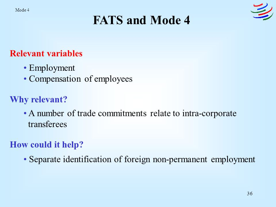 37 Migration Statistics and Mode 4 Relevant framework UN Recommendations on Statistics of International Migration Why relevant.