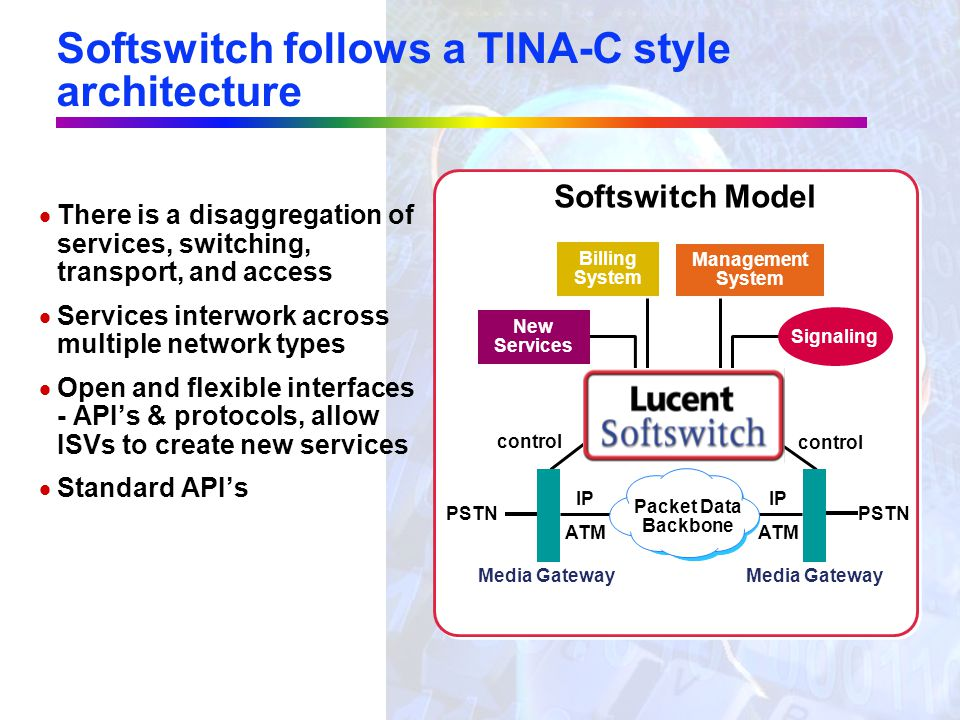 "TINA-C style architectures are emerging in many places in the next generation network ""Open"" ""Closed"" Network Dependent Services Service Control User"