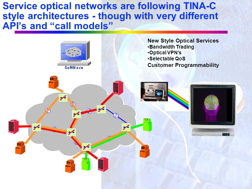 3G-wireless networks are following the TINA-C style architecture Internet PSTN Common Base Stations Radio Network Control Media Gateways Softswitch-ba
