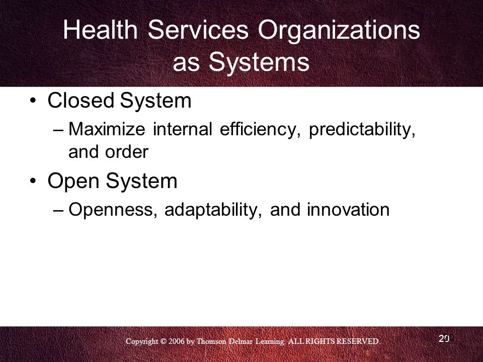 Copyright © 2006 by Thomson Delmar Learning. ALL RIGHTS RESERVED. 20 Health Services Organizations as Systems Closed System –Maximize internal efficie