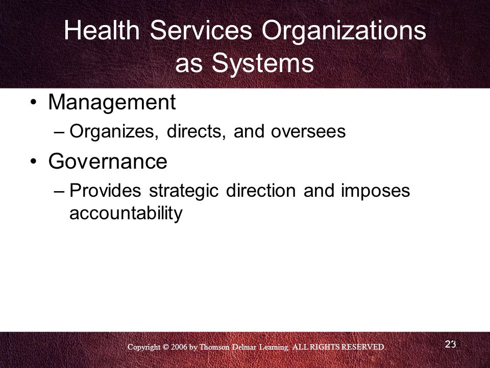 Copyright © 2006 by Thomson Delmar Learning. ALL RIGHTS RESERVED. 23 Health Services Organizations as Systems Management –Organizes, directs, and over