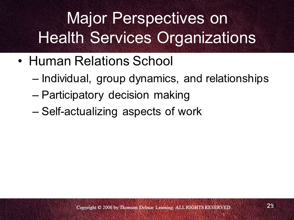 Copyright © 2006 by Thomson Delmar Learning. ALL RIGHTS RESERVED. 28 Major Perspectives on Health Services Organizations Human Relations School –Indiv