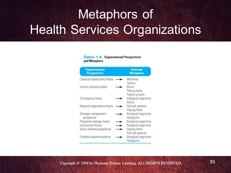 Copyright © 2006 by Thomson Delmar Learning. ALL RIGHTS RESERVED. 39 Metaphors of Health Services Organizations