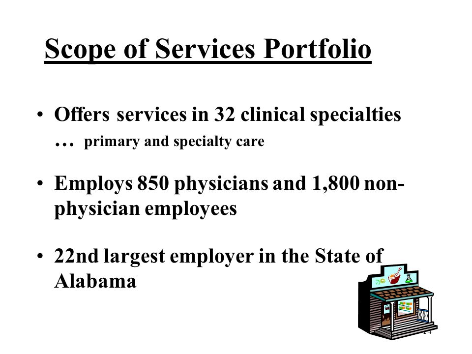 14 Scope of Services Portfolio Offers services in 32 clinical specialties … primary and specialty care Employs 850 physicians and 1,800 non- physician employees 22nd largest employer in the State of Alabama