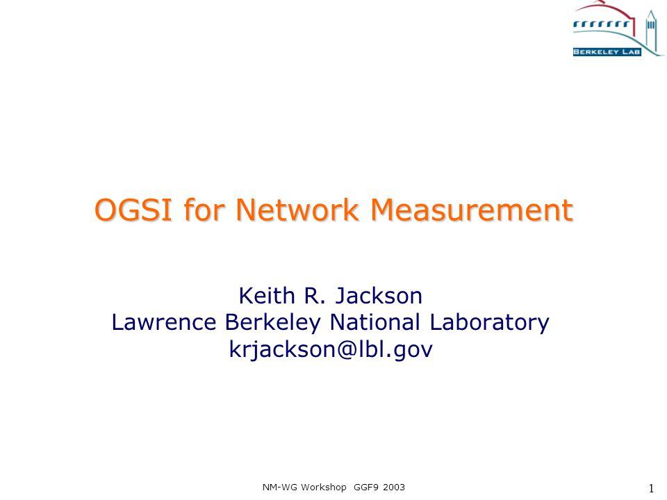 NM-WG Workshop GGF9 2003 32 findServiceData GridService :: findServiceData Query the service data.