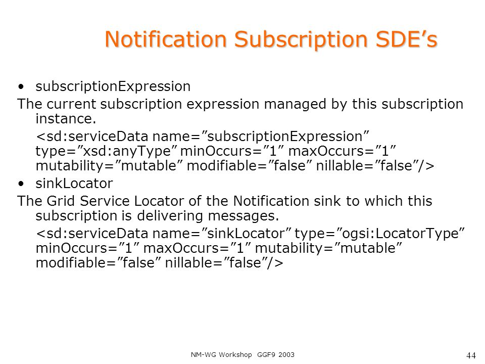 NM-WG Workshop GGF9 2003 44 Notification Subscription SDE's subscriptionExpression The current subscription expression managed by this subscription instance.