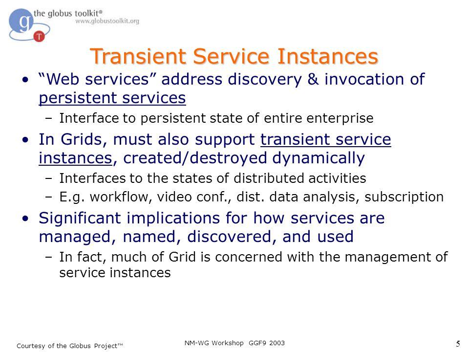 NM-WG Workshop GGF9 2003 26 SDE Example * … <sd:serviceData name= sd1 type= xsd:String mutability= static /> … initValue …