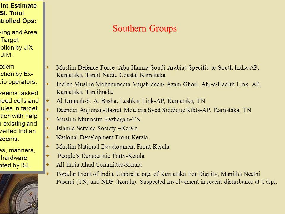Southern Groups  Muslim Defence Force (Abu Hamza-Soudi Arabia)-Specific to South India-AP, Karnataka, Tamil Nadu, Coastal Karnataka  Indian Muslim M
