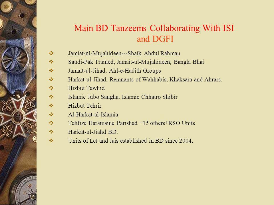Main BD Tanzeems Collaborating With ISI and DGFI  Jamiat-ul-Mujahideen---Shaik Abdul Rahman  Saudi-Pak Trained, Jamait-ul-Mujahideen, Bangla Bhai 