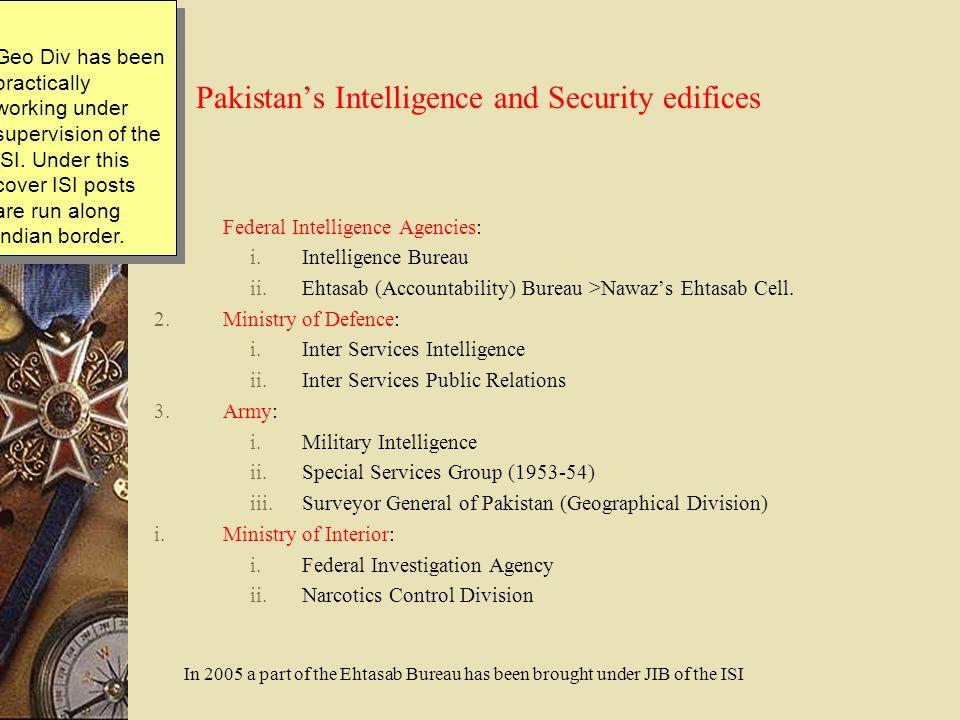 Pakistan's Intelligence and Security edifices 1.Federal Intelligence Agencies: i.Intelligence Bureau ii.Ehtasab (Accountability) Bureau >Nawaz's Ehtas