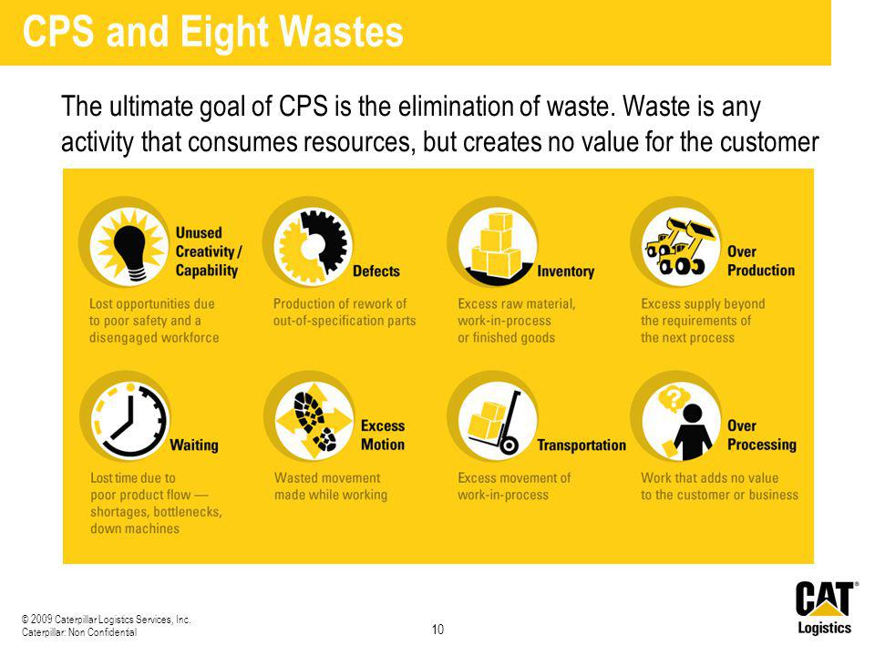 10 © 2009 Caterpillar Logistics Services, Inc. Caterpillar: Non Confidential CPS and Eight Wastes The ultimate goal of CPS is the elimination of waste