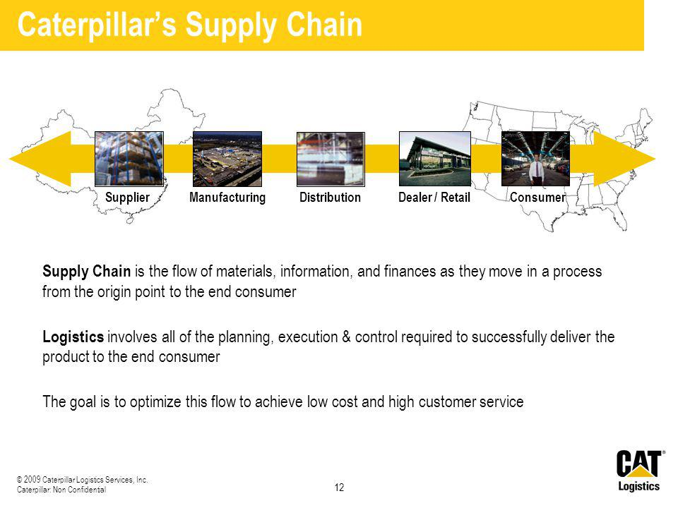 12 © 2009 Caterpillar Logistics Services, Inc. Caterpillar: Non Confidential Caterpillar's Supply Chain Supply Chain is the flow of materials, informa
