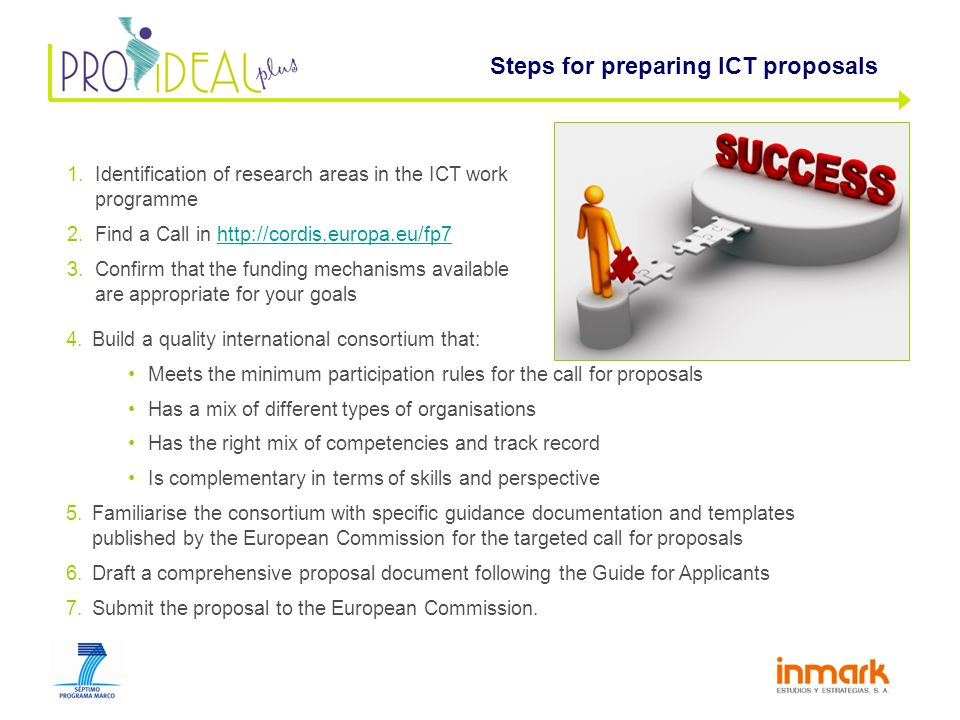 1.Identification of research areas in the ICT work programme 2.Find a Call in http://cordis.europa.eu/fp7http://cordis.europa.eu/fp7 3.Confirm that the funding mechanisms available are appropriate for your goals Steps for preparing ICT proposals 4.Build a quality international consortium that: Meets the minimum participation rules for the call for proposals Has a mix of different types of organisations Has the right mix of competencies and track record Is complementary in terms of skills and perspective 5.Familiarise the consortium with specific guidance documentation and templates published by the European Commission for the targeted call for proposals 6.Draft a comprehensive proposal document following the Guide for Applicants 7.Submit the proposal to the European Commission.