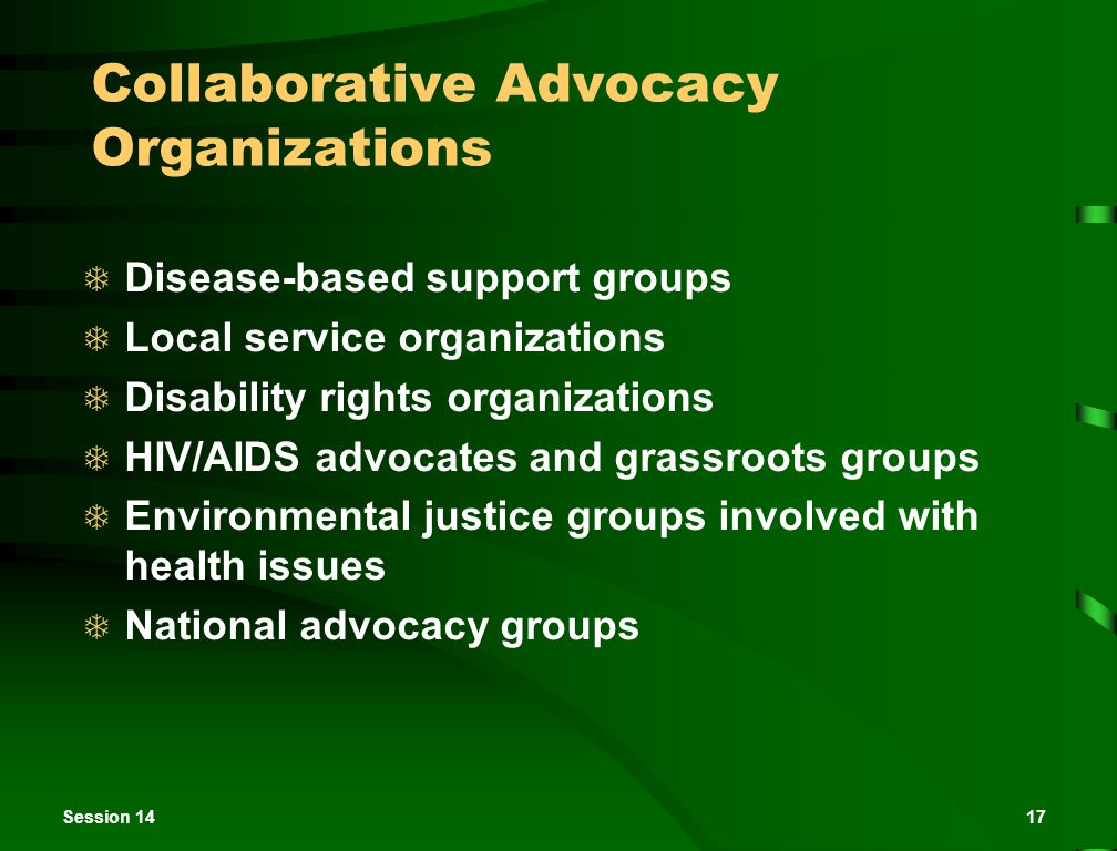 Session 1417 Collaborative Advocacy Organizations  Disease-based support groups  Local service organizations  Disability rights organizations  HIV/AIDS advocates and grassroots groups  Environmental justice groups involved with health issues  National advocacy groups