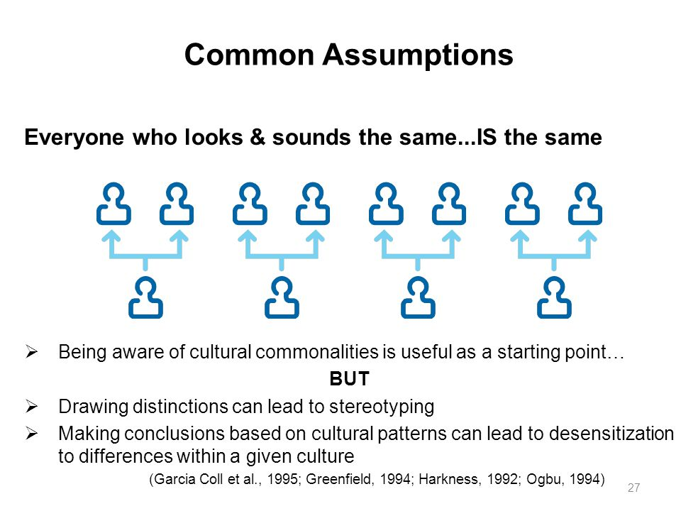 Common Assumptions Everyone who looks & sounds the same...IS the same  Being aware of cultural commonalities is useful as a starting point… BUT  Dra