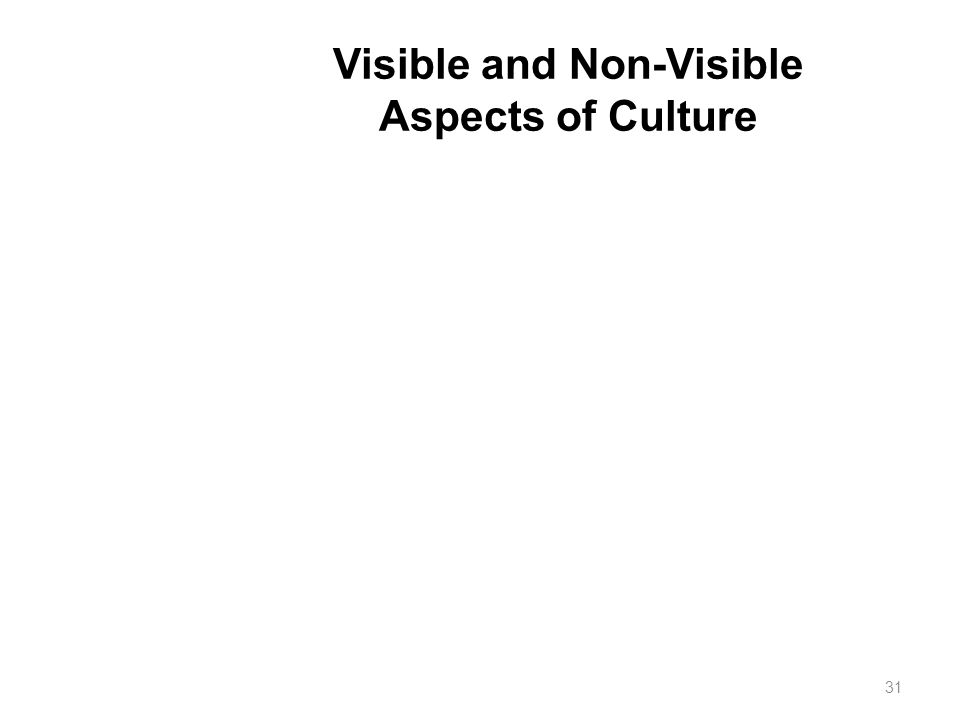 Visible and Non-Visible Aspects of Culture 31
