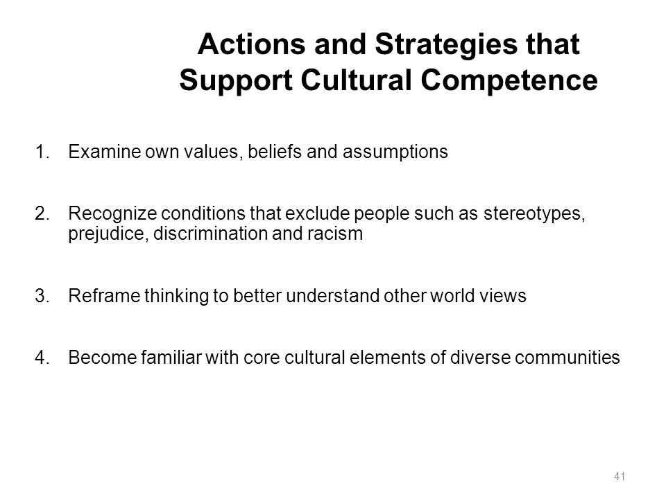 Actions and Strategies that Support Cultural Competence 1.Examine own values, beliefs and assumptions 2.Recognize conditions that exclude people such