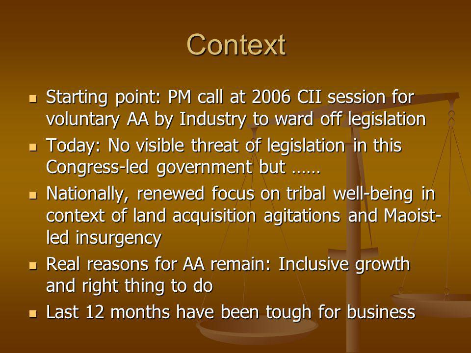Context Starting point: PM call at 2006 CII session for voluntary AA by Industry to ward off legislation Starting point: PM call at 2006 CII session for voluntary AA by Industry to ward off legislation Today: No visible threat of legislation in this Congress-led government but …… Today: No visible threat of legislation in this Congress-led government but …… Nationally, renewed focus on tribal well-being in context of land acquisition agitations and Maoist- led insurgency Nationally, renewed focus on tribal well-being in context of land acquisition agitations and Maoist- led insurgency Real reasons for AA remain: Inclusive growth and right thing to do Real reasons for AA remain: Inclusive growth and right thing to do Last 12 months have been tough for business Last 12 months have been tough for business