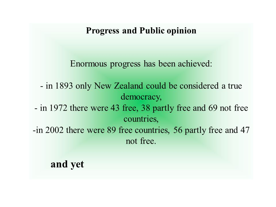 Progress and Public opinion Enormous progress has been achieved: - in 1893 only New Zealand could be considered a true democracy, - in 1972 there were 43 free, 38 partly free and 69 not free countries, -in 2002 there were 89 free countries, 56 partly free and 47 not free.