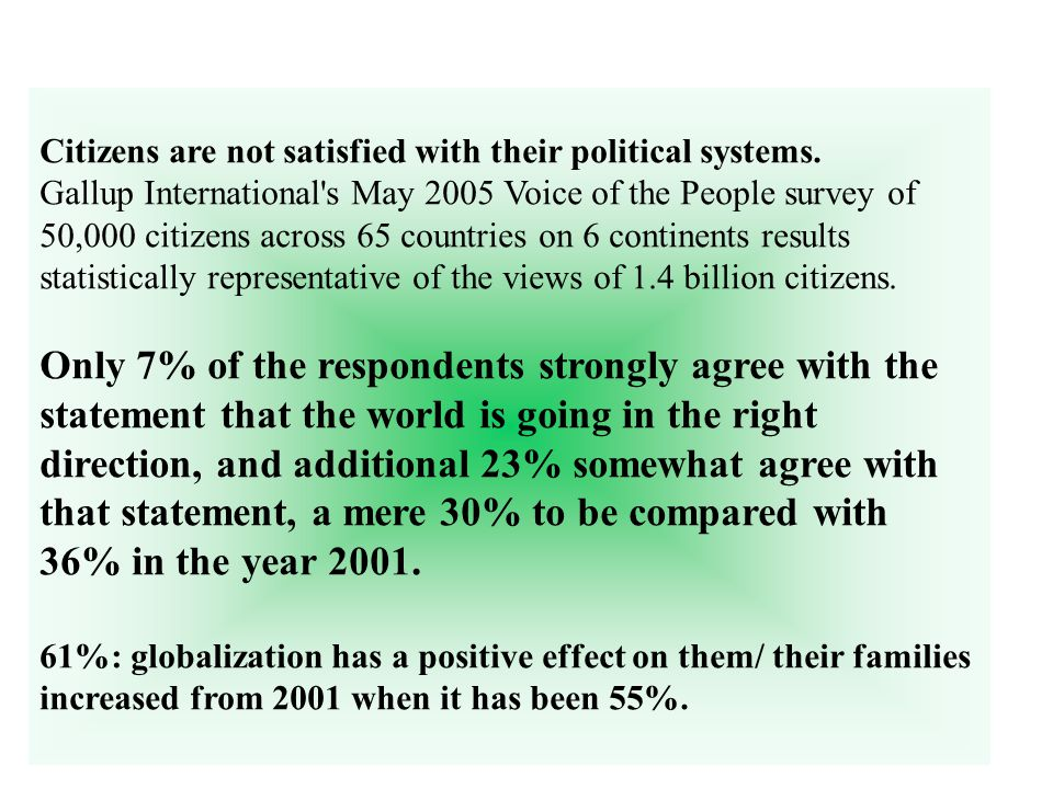 Citizens are not satisfied with their political systems.
