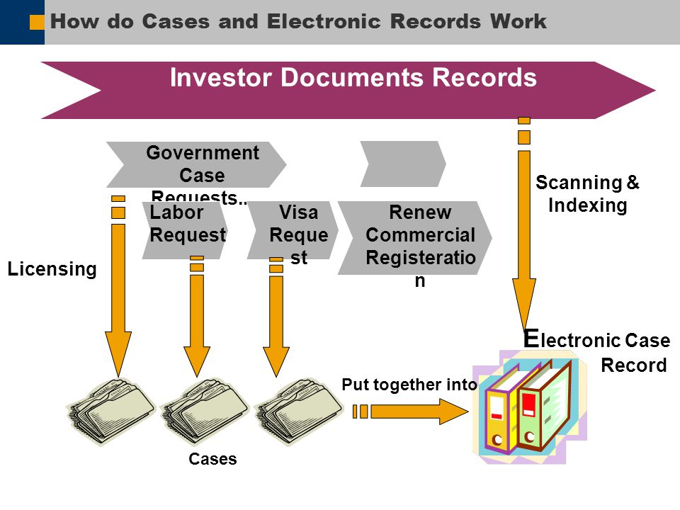 How do Cases and Electronic Records Work E lectronic Case Record Cases Scanning & Indexing Licensing Investor Documents Records Government Case Reques