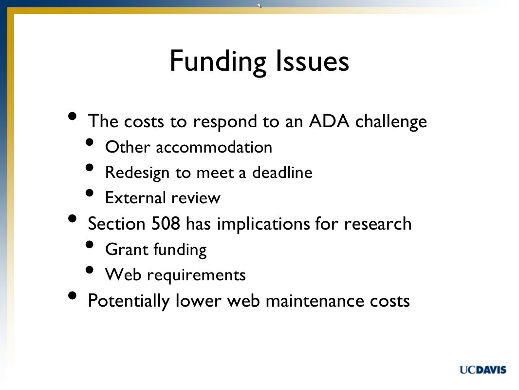 ` The costs to respond to an ADA challenge Other accommodation Redesign to meet a deadline External review Section 508 has implications for research Grant funding Web requirements Potentially lower web maintenance costs Funding Issues