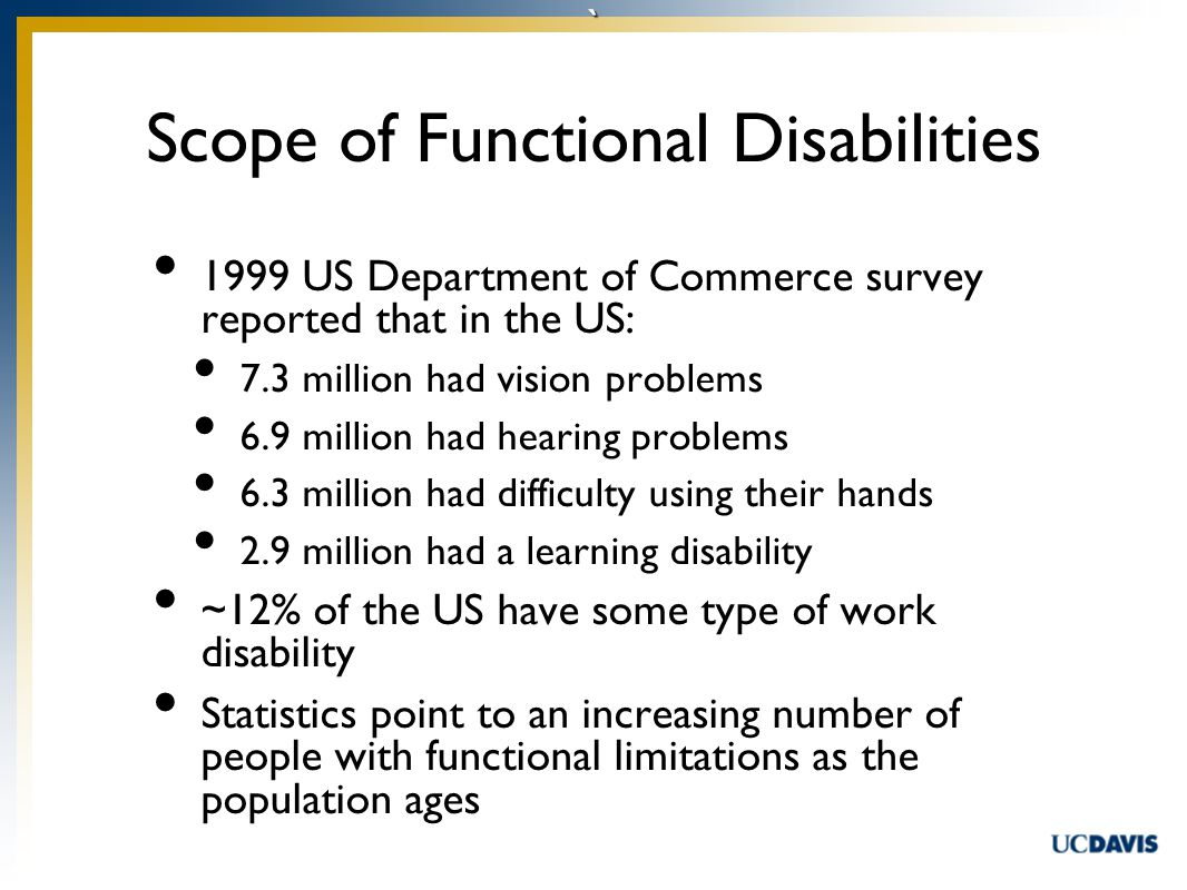 ` Scope of Functional Disabilities 1999 US Department of Commerce survey reported that in the US: 7.3 million had vision problems 6.9 million had hearing problems 6.3 million had difficulty using their hands 2.9 million had a learning disability ~12% of the US have some type of work disability Statistics point to an increasing number of people with functional limitations as the population ages