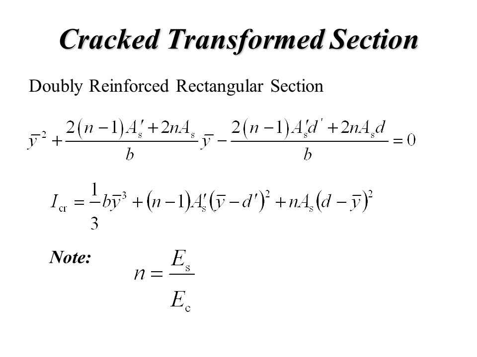 Cracked Transformed Section Note: Doubly Reinforced Rectangular Section
