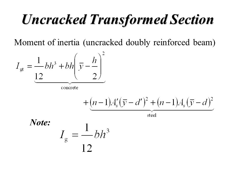 Uncracked Transformed Section Note: Moment of inertia (uncracked doubly reinforced beam)