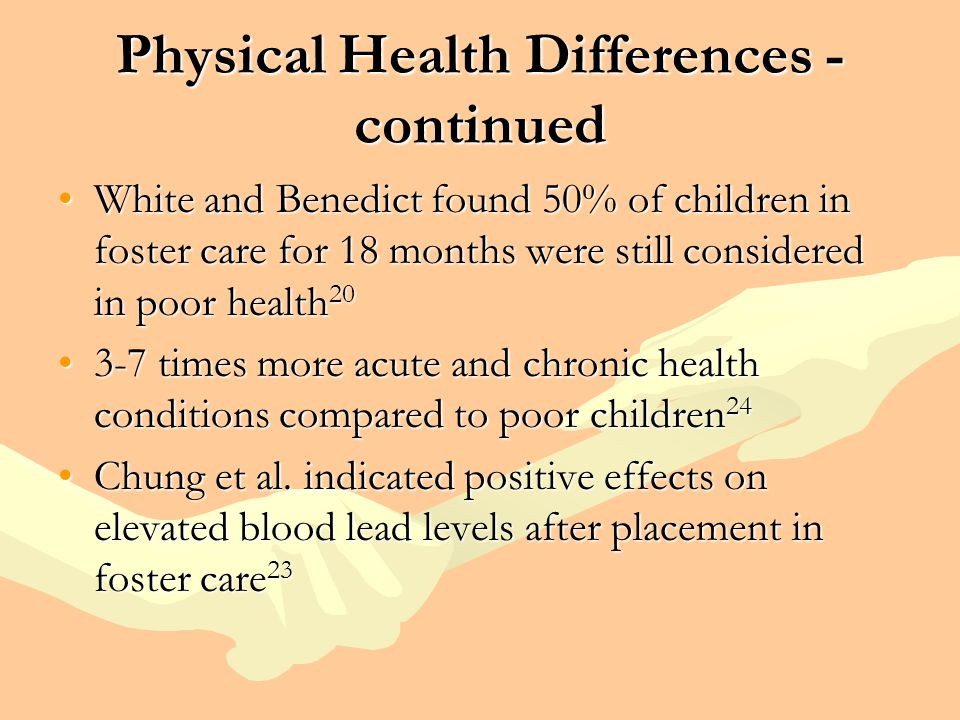 Physical Health Differences - continued White and Benedict found 50% of children in foster care for 18 months were still considered in poor health 20W