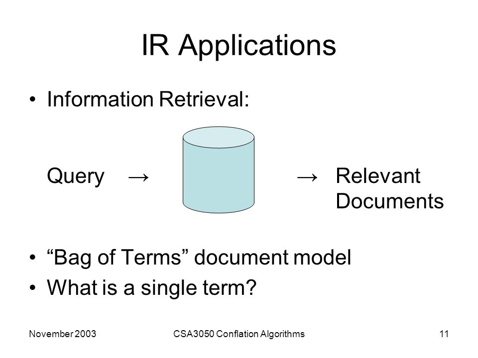 November 2003CSA3050 Conflation Algorithms11 IR Applications Information Retrieval: Query → → Relevant Documents Bag of Terms document model What is a single term?