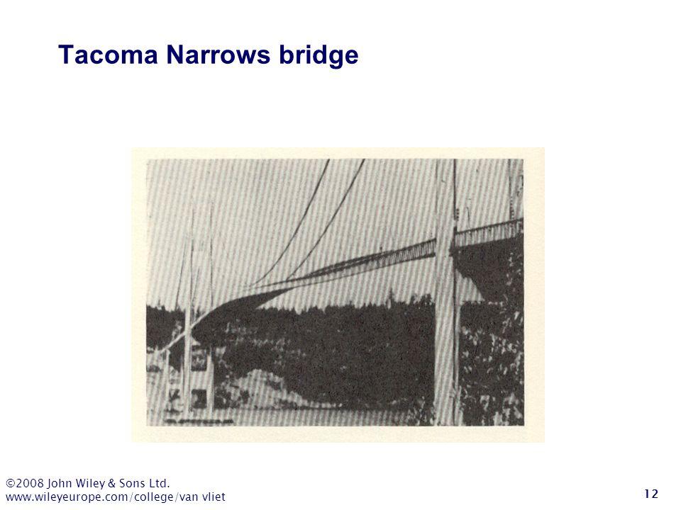 ©2008 John Wiley & Sons Ltd. www.wileyeurope.com/college/van vliet 12 Tacoma Narrows bridge
