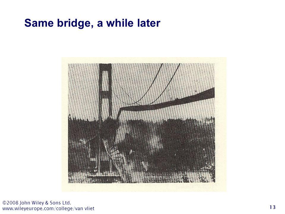 ©2008 John Wiley & Sons Ltd. www.wileyeurope.com/college/van vliet 13 Same bridge, a while later