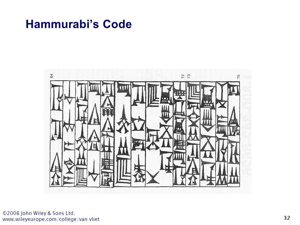 ©2008 John Wiley & Sons Ltd. www.wileyeurope.com/college/van vliet 32 Hammurabi's Code