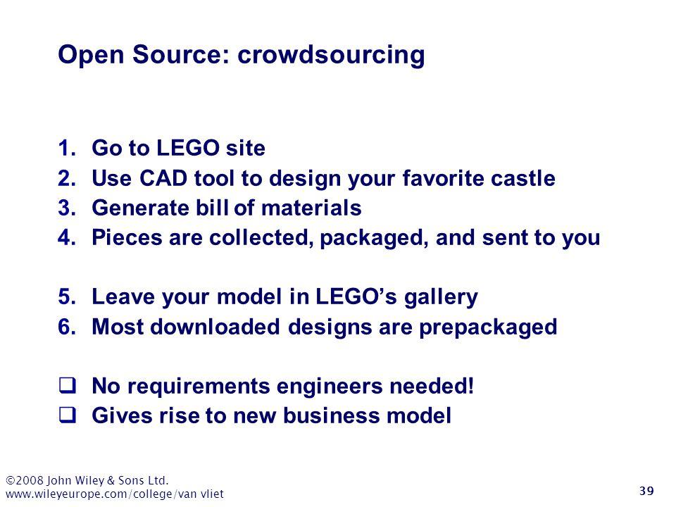 ©2008 John Wiley & Sons Ltd. www.wileyeurope.com/college/van vliet 39 Open Source: crowdsourcing 1.Go to LEGO site 2.Use CAD tool to design your favor