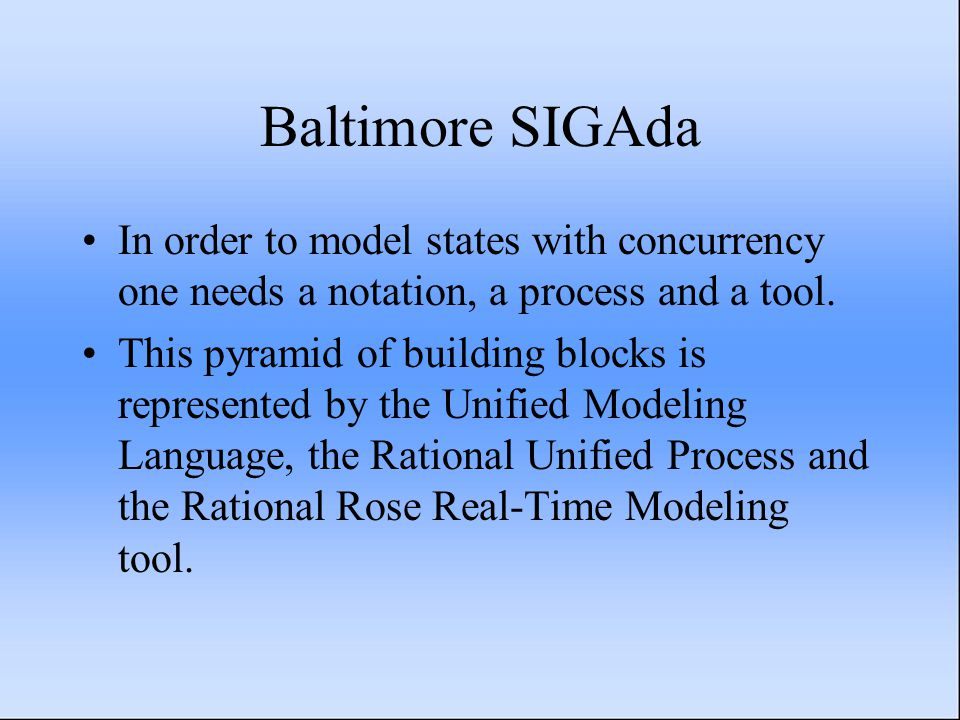 Baltimore SIGAda In order to model states with concurrency one needs a notation, a process and a tool. This pyramid of building blocks is represented