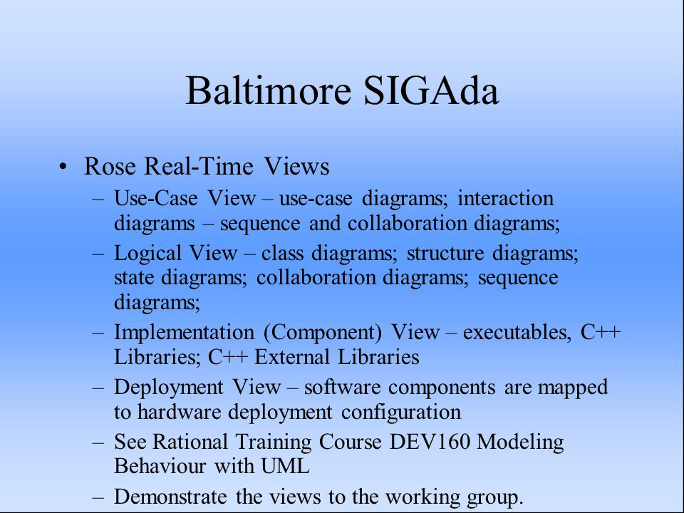 Baltimore SIGAda Rose Real-Time Views –Use-Case View – use-case diagrams; interaction diagrams – sequence and collaboration diagrams; –Logical View – class diagrams; structure diagrams; state diagrams; collaboration diagrams; sequence diagrams; –Implementation (Component) View – executables, C++ Libraries; C++ External Libraries –Deployment View – software components are mapped to hardware deployment configuration –See Rational Training Course DEV160 Modeling Behaviour with UML –Demonstrate the views to the working group.